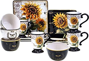 Certified International 89093 French Sunflower 16 pc. Dinnerware Set, Service for 4, Multicolored