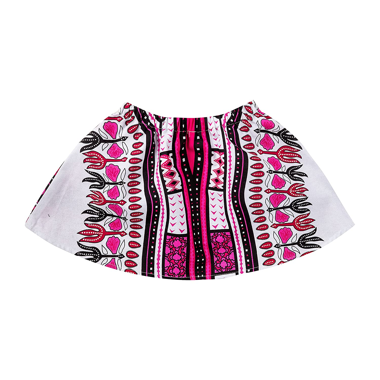 Shenbolen Girls African Wax Skirt Set Ankara Dashiki Print Clothing