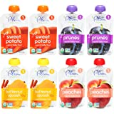 Plum Organics Stage 1 Just Fruit & Veggies Variety Pouch Bundle: (2) Just Sweet Potato 3oz, (2) Just Prunes 3.5oz, (2) Just Sweet Butternut Squash 3oz, and (2) Just Peaches 3.5oz (8 Pack Total)
