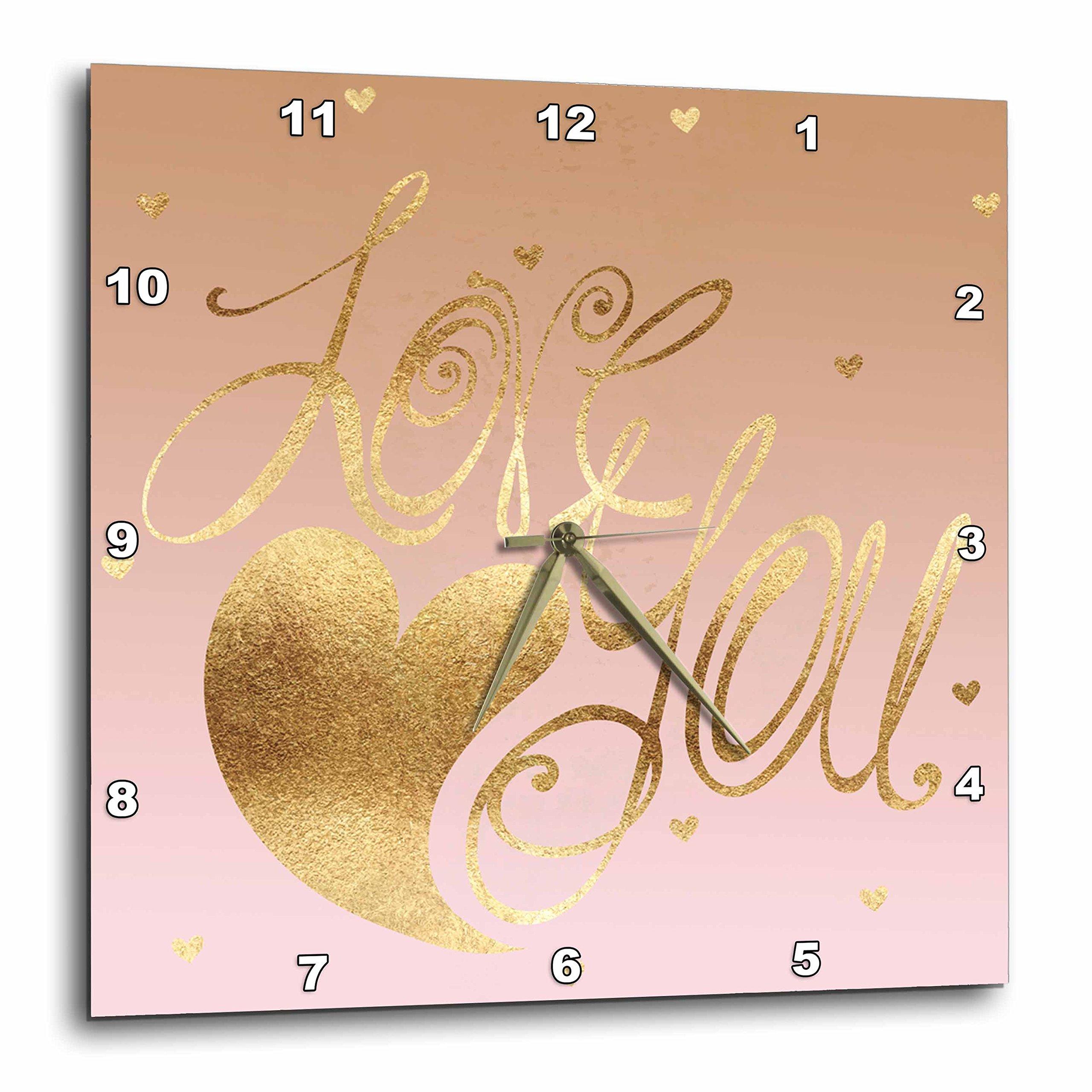3dRose PS Inspiration - Image of Gold Pink Love Heart - 15x15 Wall Clock (dpp_280738_3)