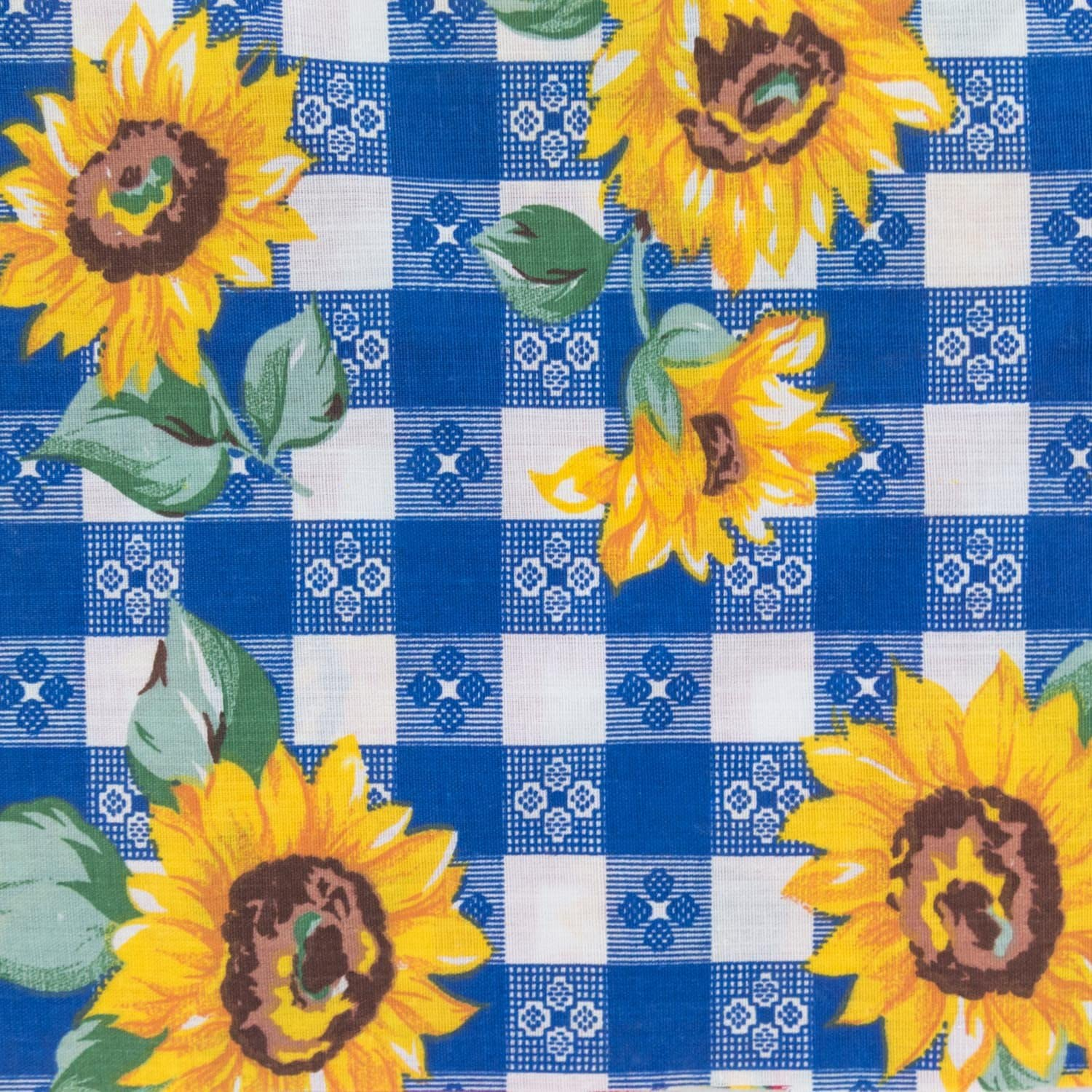 Plaid Sunflower Poly Cotton Print Fabric 58 Wide by The Yard Blue