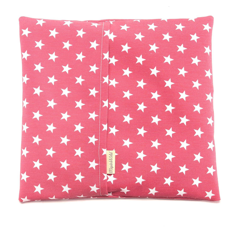 Saco Térmico de Semillas aroma Lavanda, Azahar o Romero tejido Rojo con Estrellas (Romero, 26 x 28 x 2 cm)