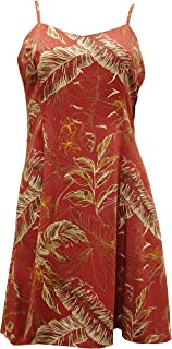 product image for Paradise Found Womens Heliconia Sketch Princess Seam Mini Sundress in Rust - L