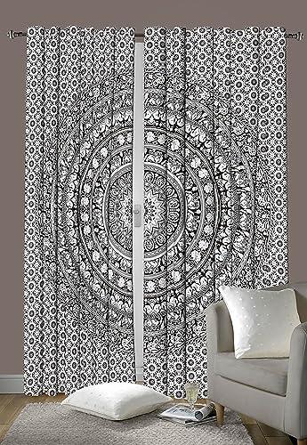 Sophia-Art Traditional India Indian Cotton Elephant Mandala Window Door Cover Curtain Hanging Drape Portiere 92 x 82 Inch