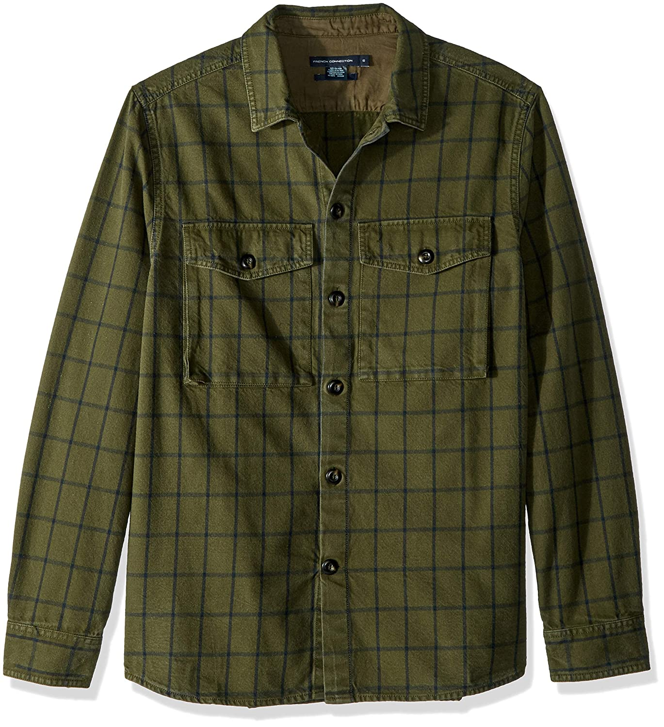 French Connection Mens Long Sleeve Flannel Stripe Button Down Shirt