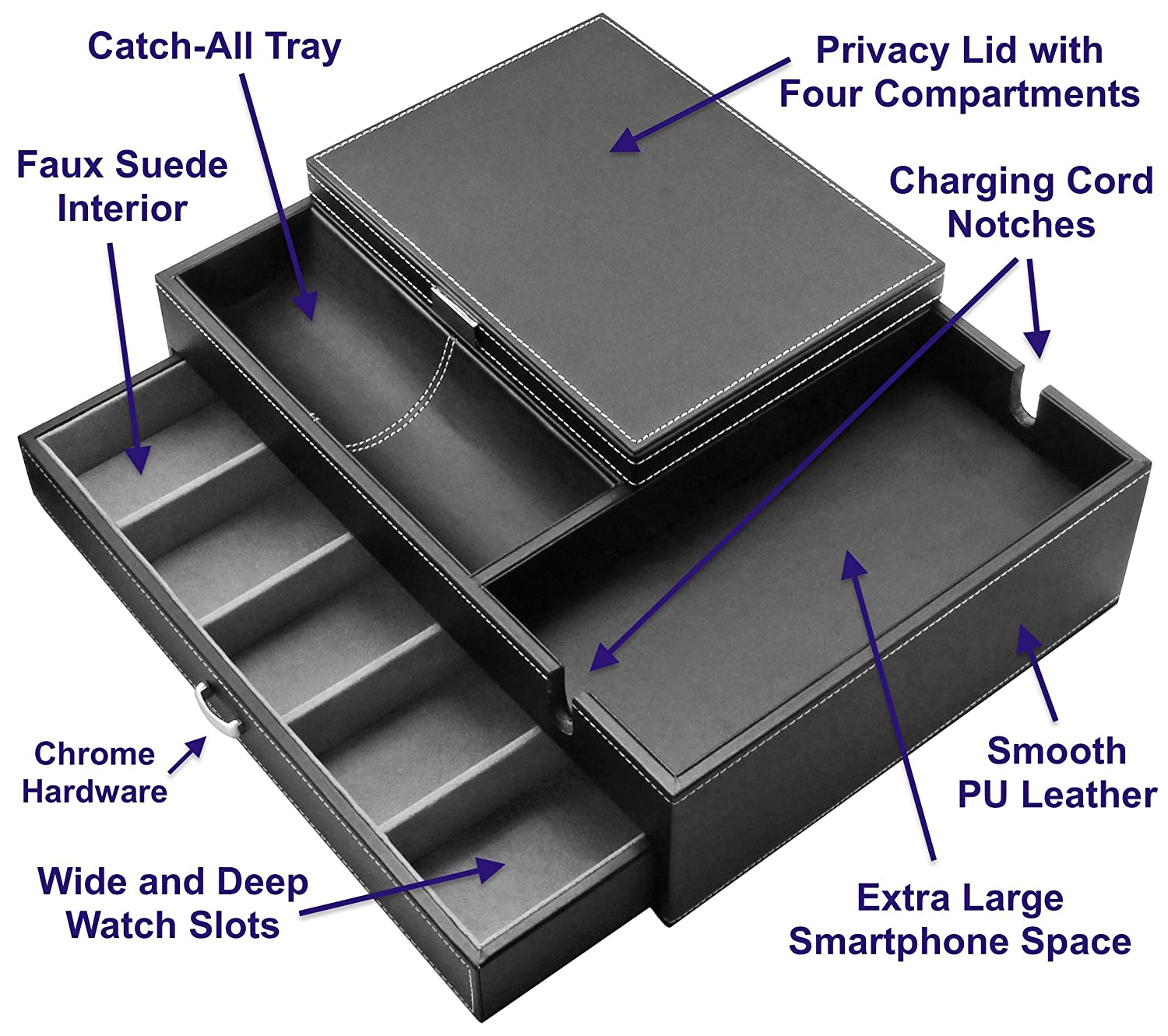 011a1d251179 Amazon.com  HOUNDSBAY Admiral Dresser Valet Box   Mens Jewelry Box  Organizer with Large Smartphone Charging Station (Grey)  Home   Kitchen
