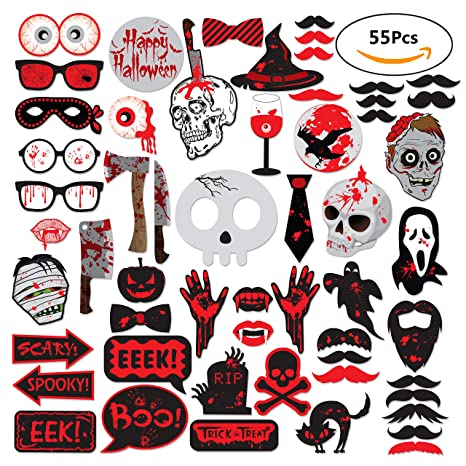 Amazon com: 55Pcs Scary Halloween Photo Booth Props Haunted