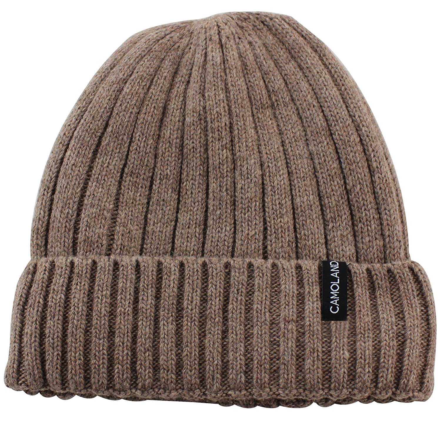 853f4d94f71 CAMOLAND Mens Fleece Wool Cable Knit Winter Beanie Hat EWH001-BK