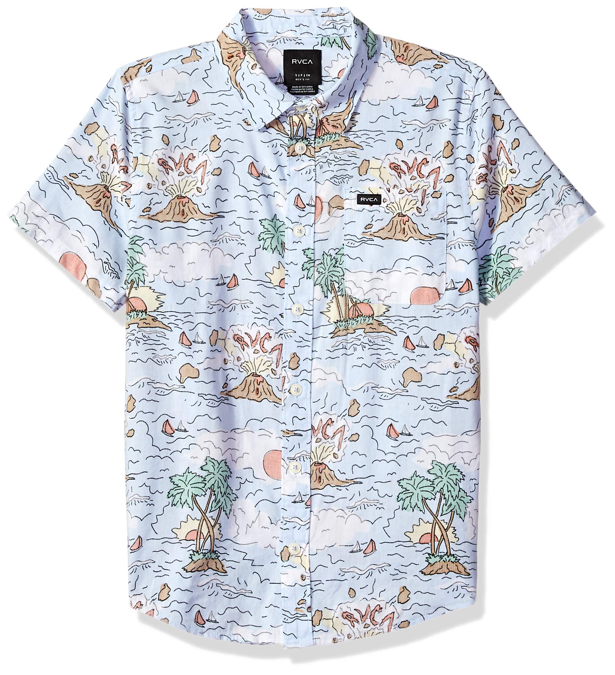 RVCA Boys' Big CEDDIA Short Sleeve Woven Button UP Shirt, Multi, L