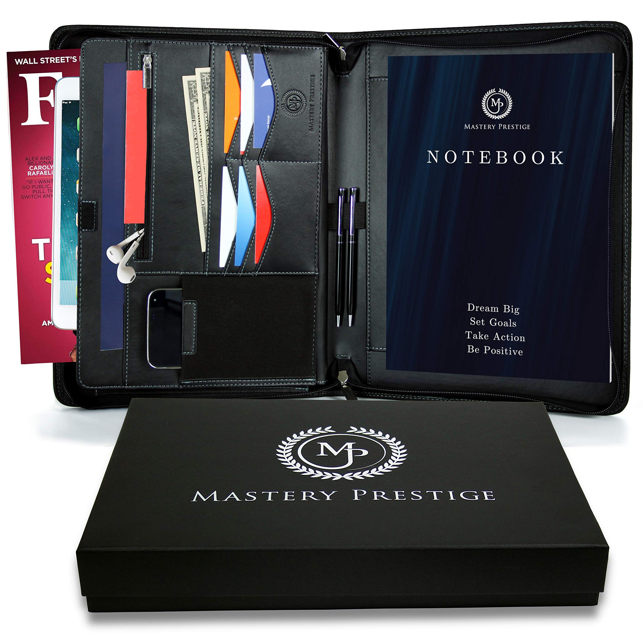 Zippered Portfolio/Padfolio Organizer by Mastery Prestige - PU Leather Case with Tablet Sleeve, A4 Notebook, Phone & Business Cards Holders - Professional Interview Document Binder, File Folder