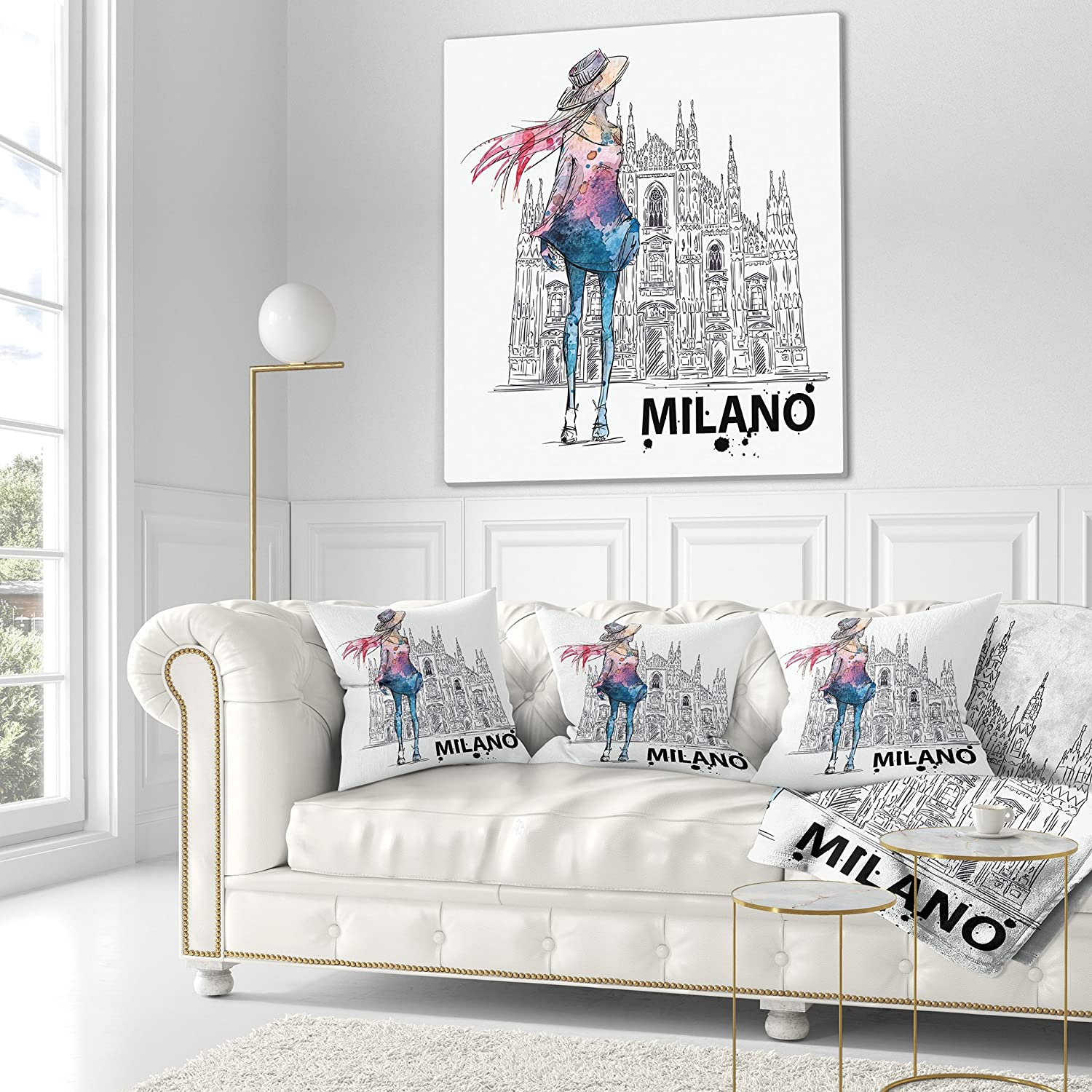 x 18 in in Designart CU6643-18-18 Girl on a Milano Duomo Contemporary Cushion Cover for Living Room Sofa Throw Pillow 18 in
