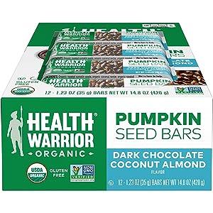 Health Warrior Pumpkin Seed Protein Bars, Dark Chocolate Coconut Almond, 12 Count
