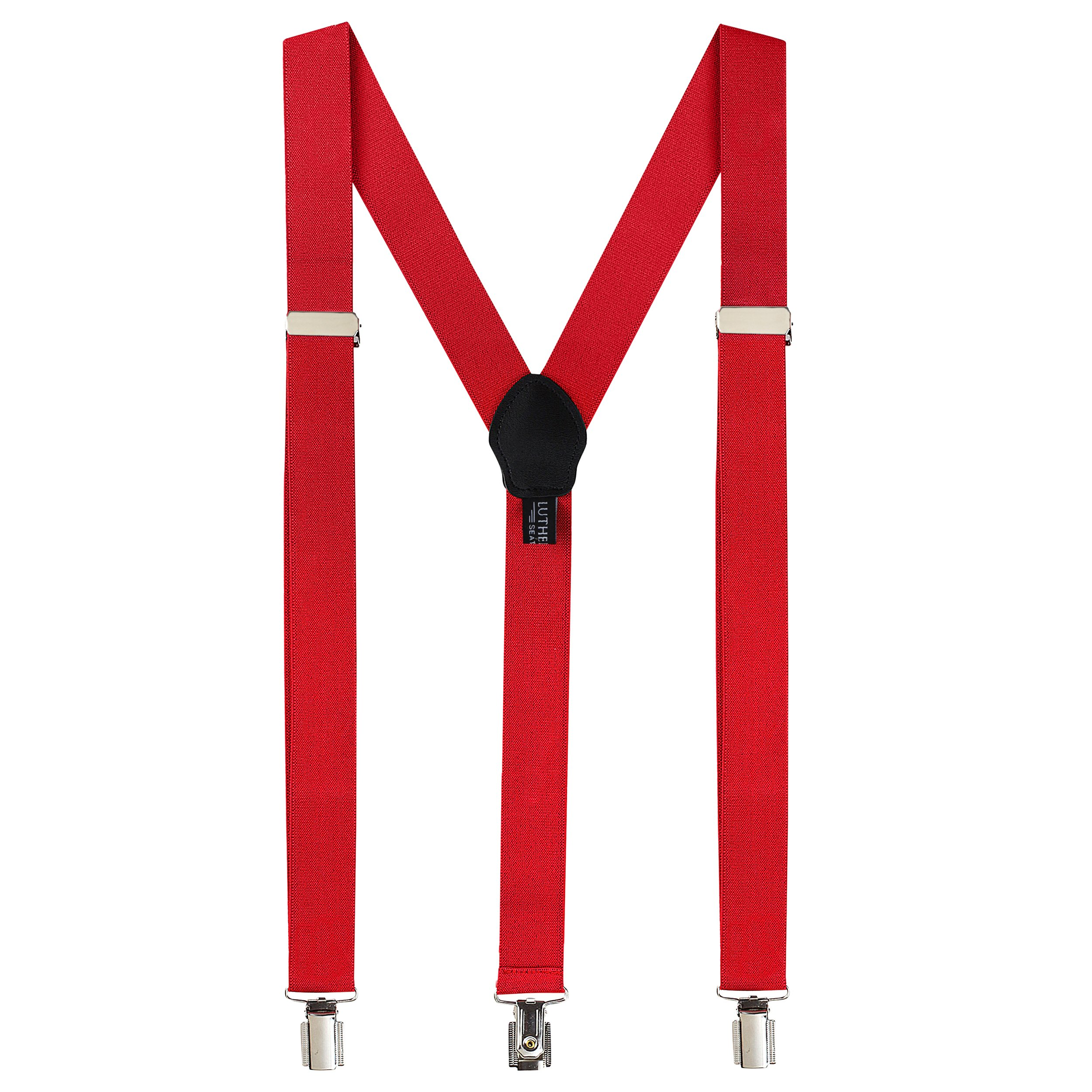 Fashion Accessories Leather Suspenders for Men: Button Pant Braces Clothes Accessory with Elastic, Y Back Design - Regular and Tall Sizes, Red
