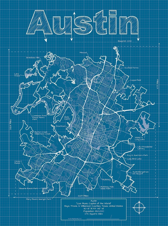Amazon austin texas map blueprint style handmade malvernweather Image collections