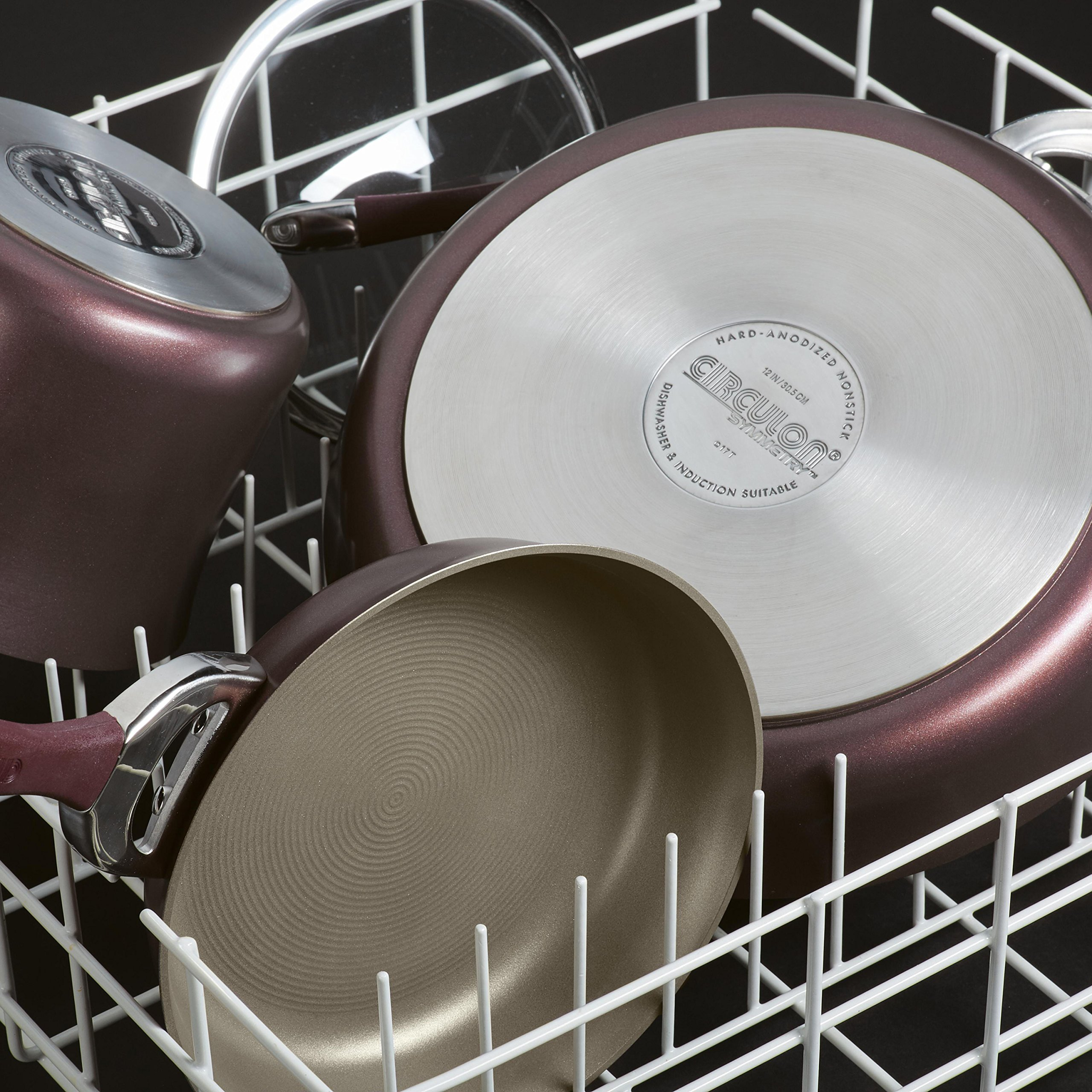 Circulon Symmetry Hard-Anodized Nonstick 10-Inch and 12-Inch French Skillets, Merlot by Circulon (Image #2)