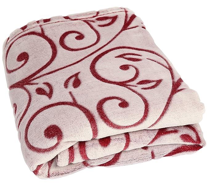 Betz SUPER SOFT couverture polaire plaid en polaire à ornaments taille: 140 x 190 cm qualité 330g/m² couleur bordeaux