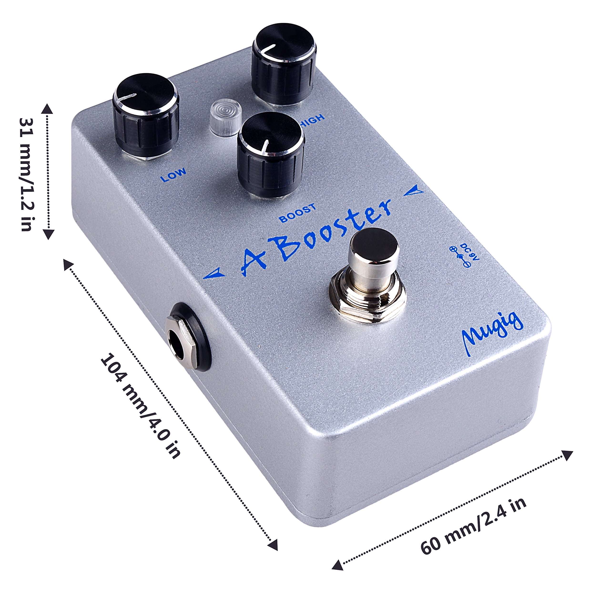 Mugig Booster Guitar Effect Pedal True Bypass Low High Boost Knob with LED light Rich Distortion Sound for Electronic Guitar