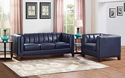 Fantastic Amazon Com Hydeline Lansdowne 100 Leather Sofa Set Blue Beutiful Home Inspiration Truamahrainfo