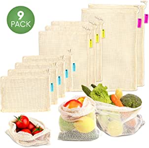 Reusable Produce Bags Washable|Shopping Bags Reusable|Kitchen Storage| Organic Cotton,Durable Double-Stitched Seams with Tare Weight Tags|Set of 9, S(12x8in), M(12x14)& L(12x17in)