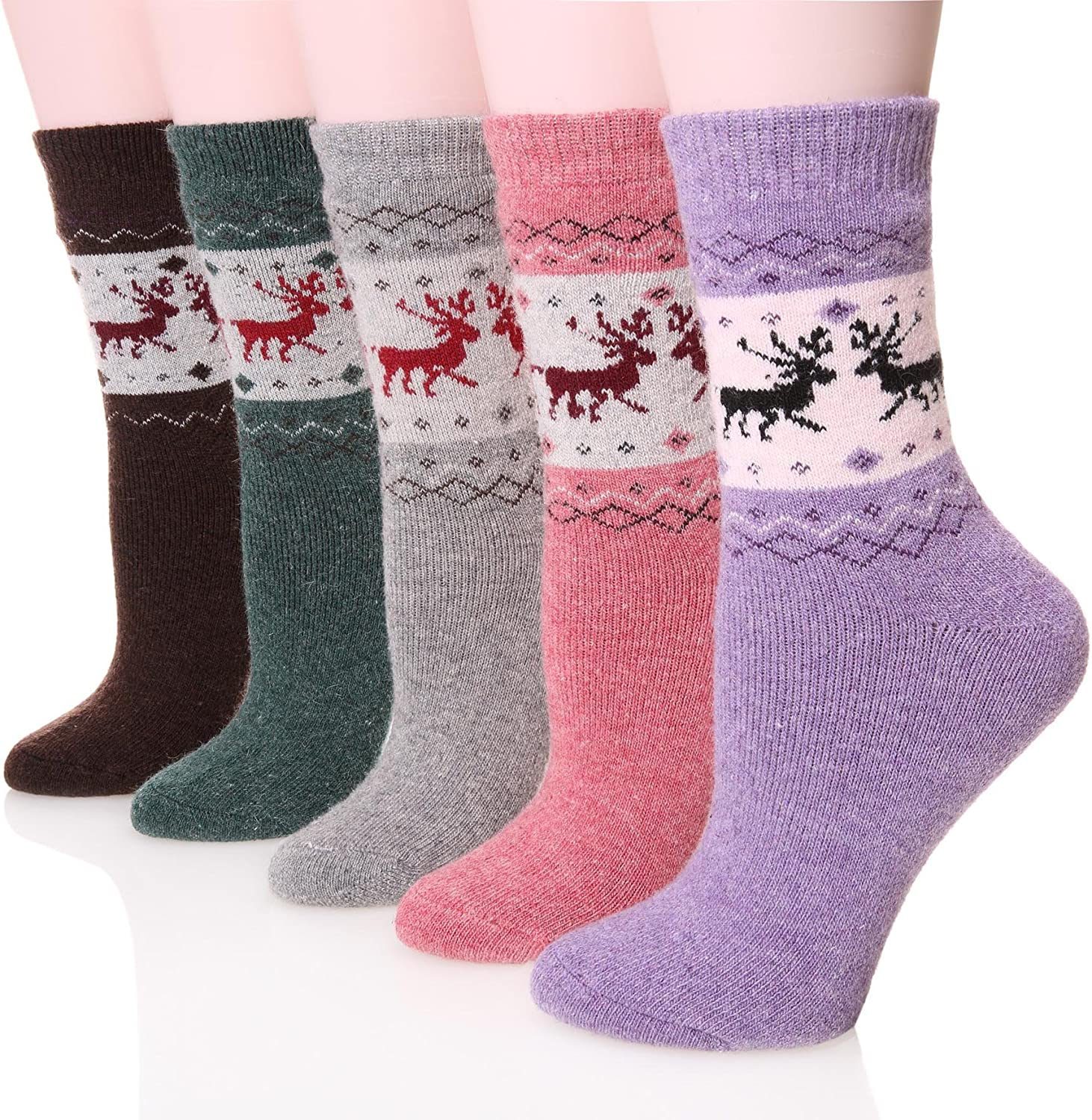 Womens Wool Socks Thick Heavy Thermal Fuzzy Winter Warm Deer Crew Socks For Cold Weather 5 Pack
