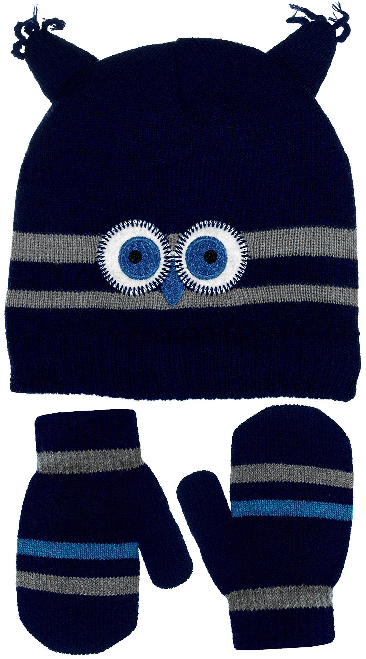 Little Boys Wise Guy Owl Knit Beanie & Mittens Set in Light Blue or Navy Blue (Navy Blue)