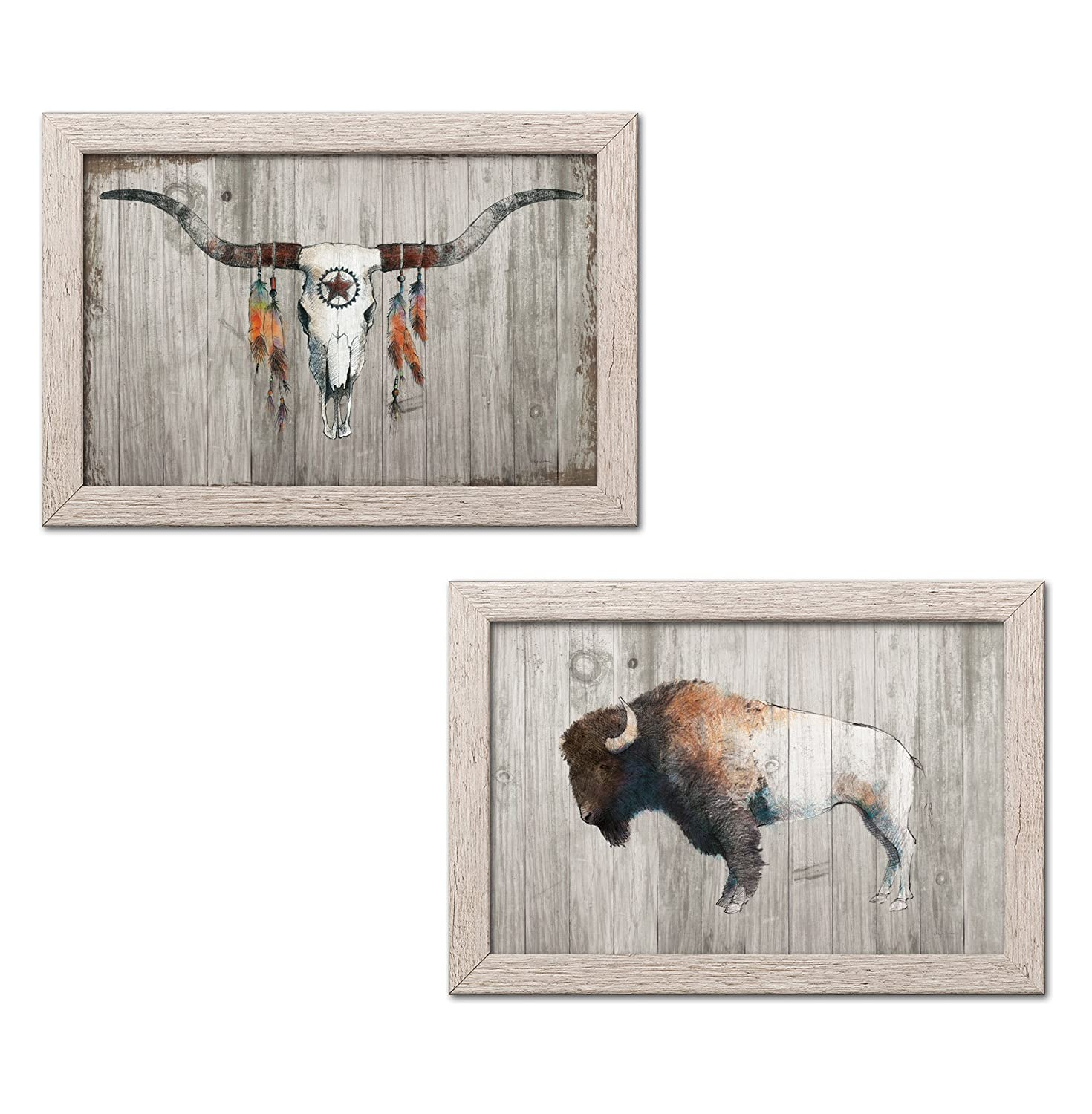 Gango Home Decor Southwestern Colorful Bison Dark Brown on Wood & Longhorn on Dark Gray Wood by Avery Tillmon (Ready to Hang); Two 18x12in Black Framed Prints