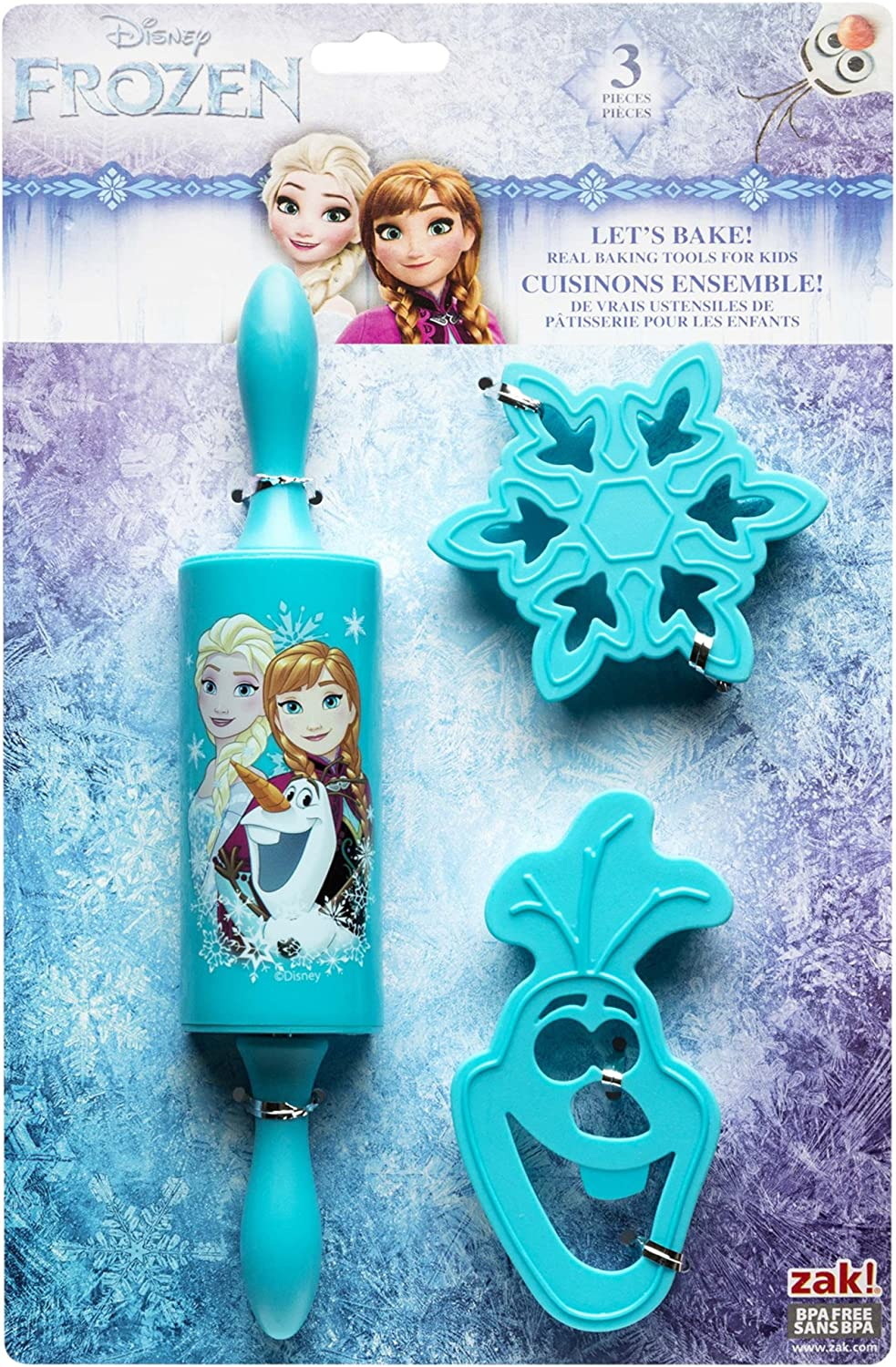 Elsa /& Olaf Zak Designs Lets Bake Anna Rolling Pin and Cookie Cutters for Cooking with Kids