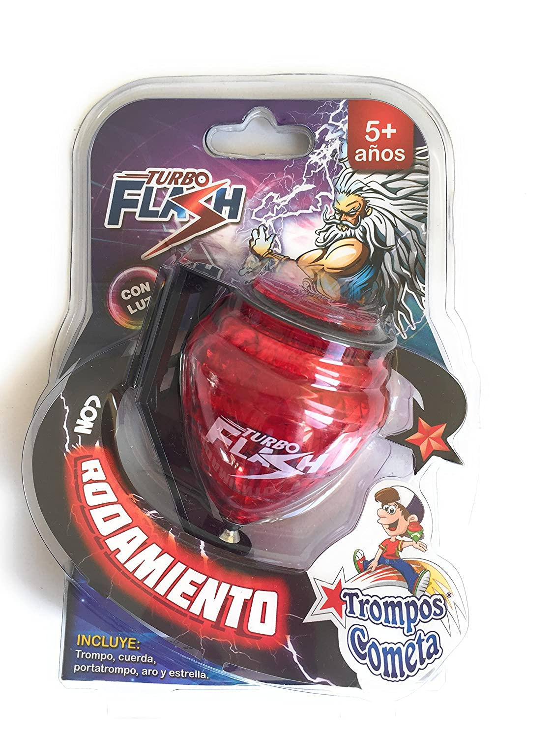 Grahmart Deluxe Turbo Flash Trompo Mexicano Durable Plastic Spin Tops Metal Tip LED Light