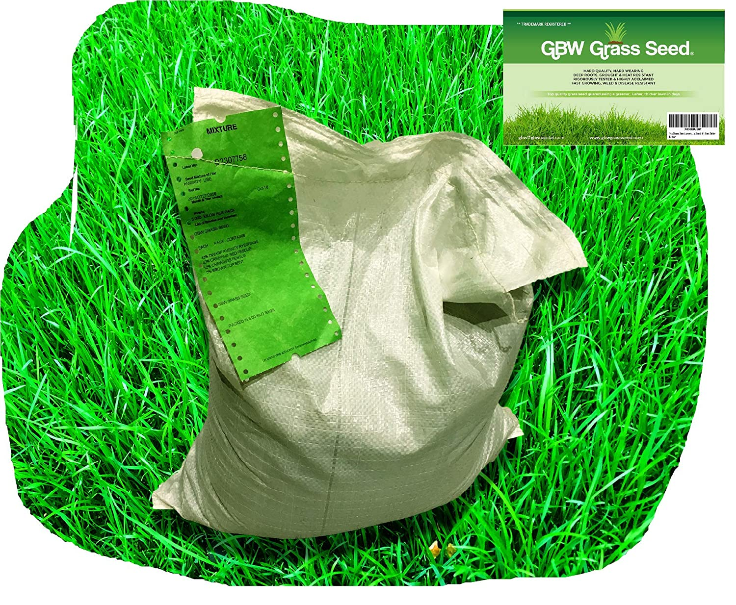 1 kg Grass Seed Covers 35 sqm (380 sq ft) - Premium Quality Seed - Fast Growing - Hard Wearing Lawn Seed - Tailored to UK Climate - Trademark Registered - 100% Refund GS