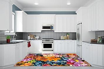 Küchenboden Fliesen 3d küche boden vinyl dekor pvc bodenbelag teppich aufkleber fliesen