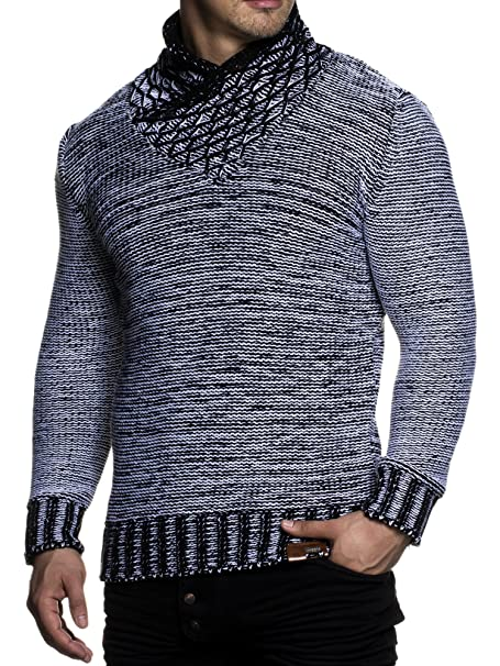 la mejor actitud d7d3e 9efc2 Tazzio 3978 - Jersey de punto grueso para hombre, con elegante cuello  bufanda