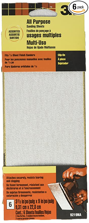 3M 9219NA 3 2/3-Inch by 9-Inch Power Sanding Sheets,