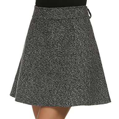 cde25e8020c Zeagoo Stylish Lady Women s Casual Outwear Speckled A-Line Mini Wool Blend  Skirt