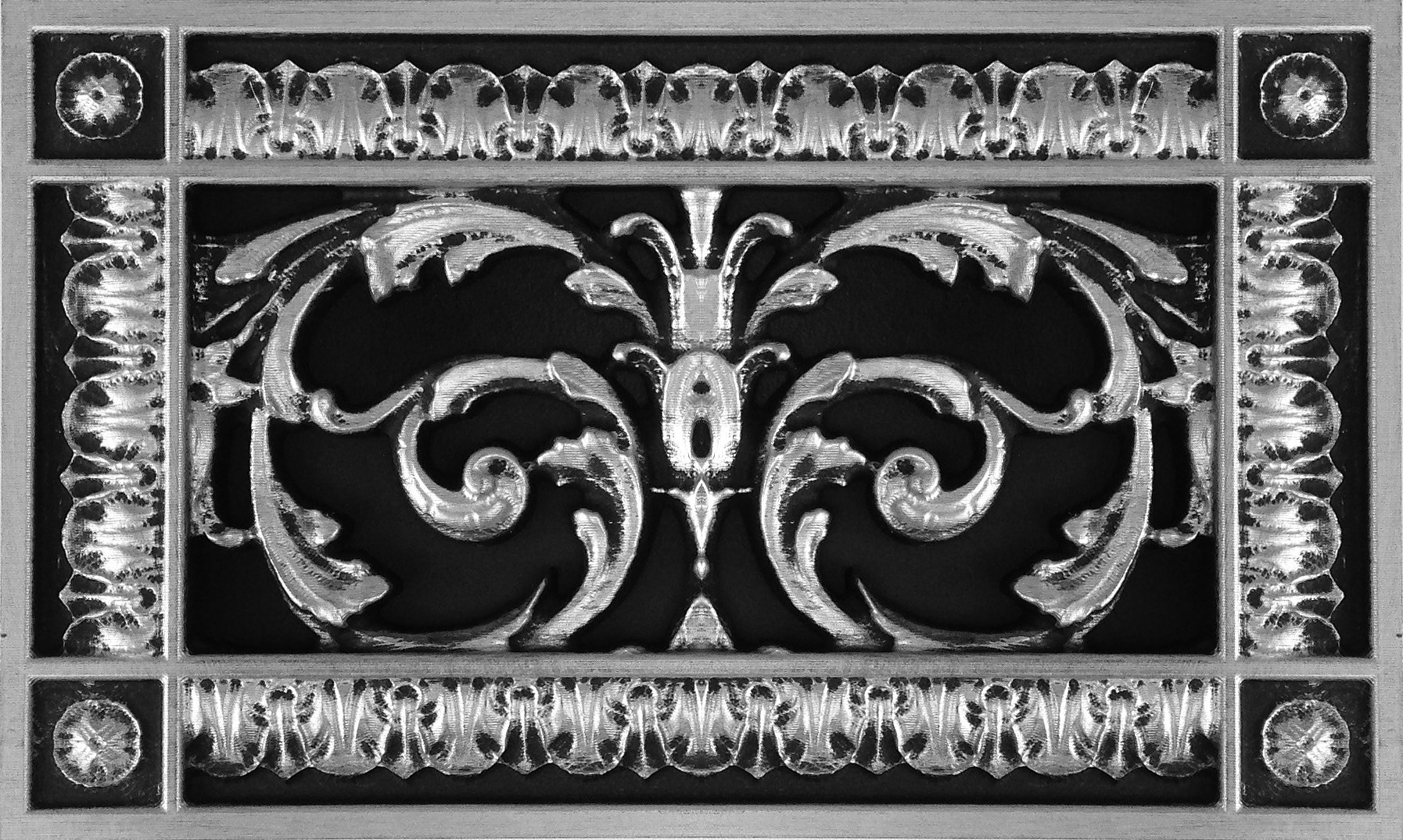 """Decorative Vent Cover, Grille, Return Register, Made of Urethane Resin, in French Style fits Over a 4""""x 8"""" Duct Opening. Total Size, 6"""" x 10"""", Walls & Ceilings use only(not for Floors) (Nickel)"""