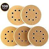 Dischi Abrasivi 100 Pezzi Tacklife ASD04C Kit di Carta Abrasivi Gialla Diametro 125mm, 8 Fori, 5 Tipi 20 x 60/80/120/150/220 Graniglie Adatti per Levigatrice Ortabile
