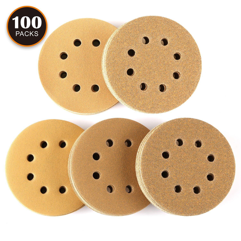 100PCS Sanding Discs, Tacklife 8 Hole Sandpaper for 5 inch Random Orbit Sander, Hook and Loop, 20PCS Each of 60/80/120/150/220 Grits, Anti-Clogging Sander Pads for Polishing Paint, Wood and Metal