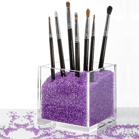 brush holder beads. acrylic cosmetics organizer \u0026 makeup brushes holder with purple diamond beads. best for mac, brush beads a