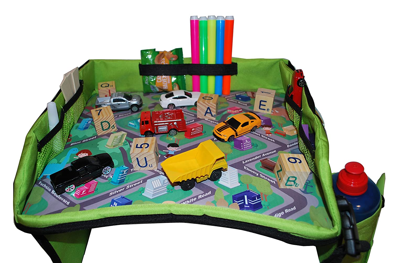 Train Carry Bag Included Car Road Trips Perfect Activity /& Snack Tray and Bus Journeys Kids Travel Plane Play /& Learn Lap Tray