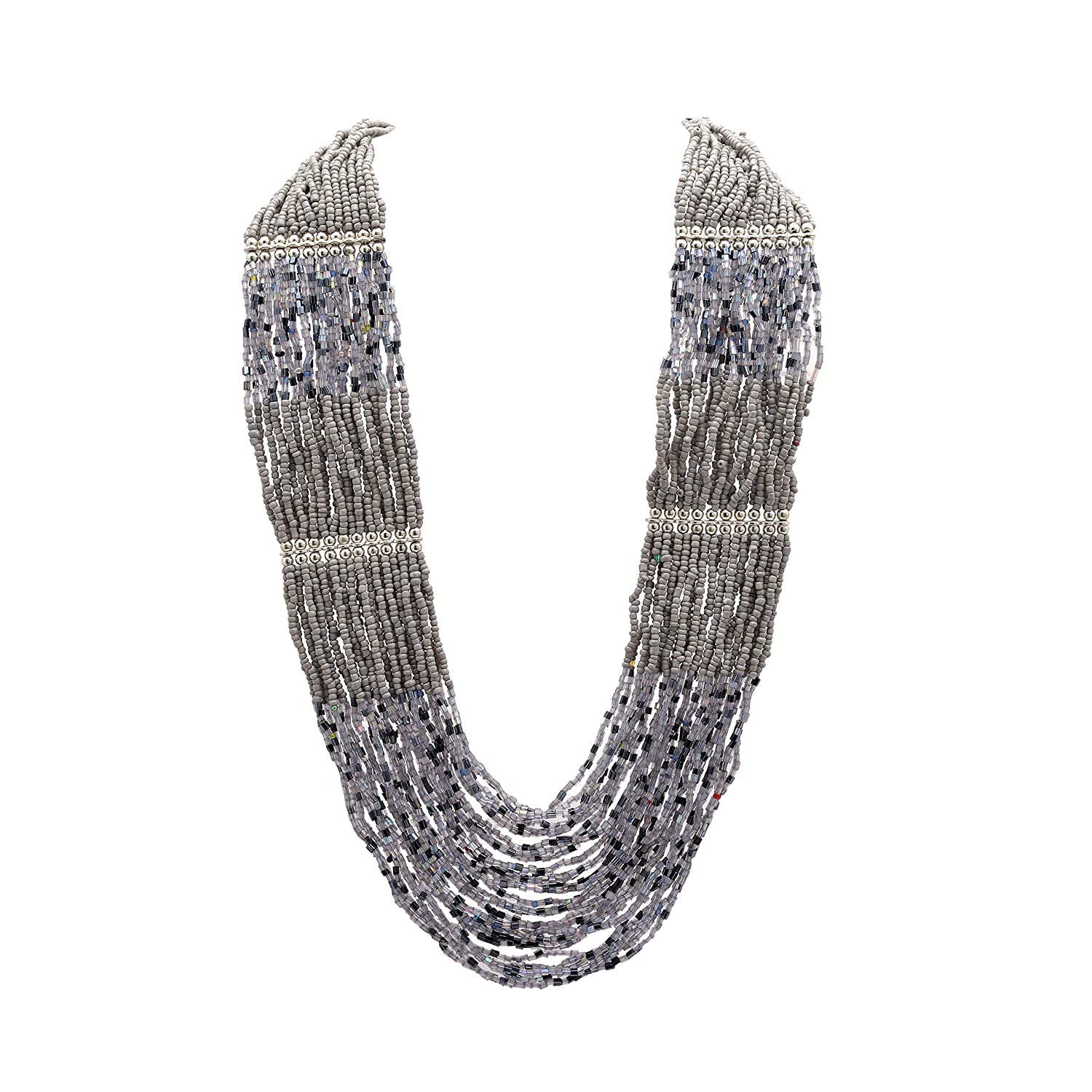Zephyrr Necklace Multi Strand Stylish Silver Plated Chain Grey Beaded Contemporary Old India JAN-1719