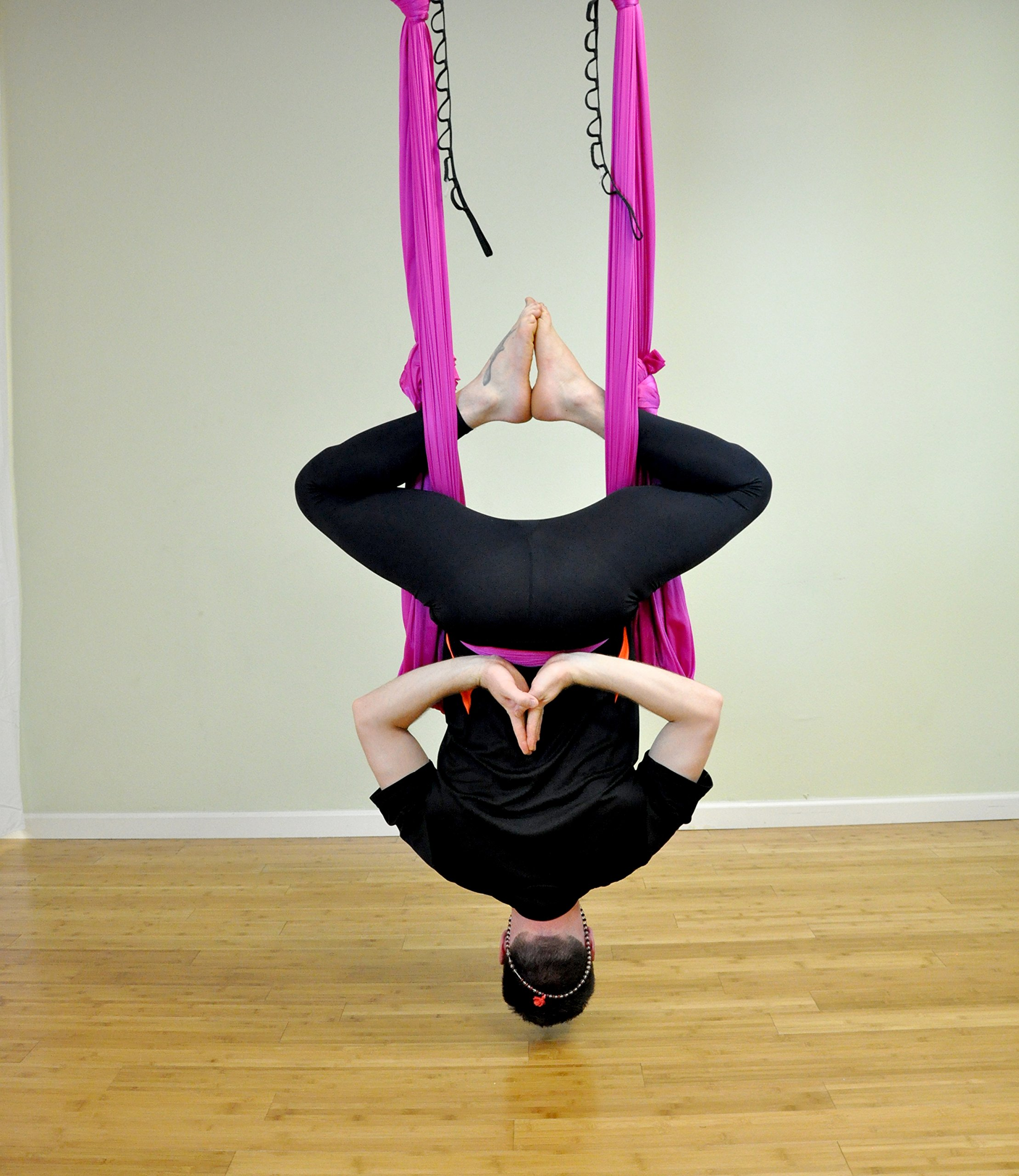 Deluxe Aerial Yoga Hammock (Yoga Swing for Trx, Aerial Yoga, Antigravity) (Fuscia Fizz)