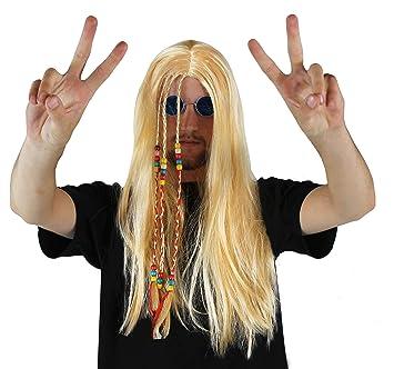 Hippy Peluca Accesorio Disfraz Rubio Hombre Mujer Unisex Hippy Peluca Con Cuentas Trenzas AÑOS 1960 años