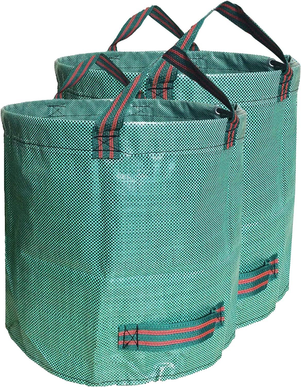 BEBEKULA 2-Pack Garden Yard Bag Waterproof Reusable leaf Bags Heavy Duty Gardening Bags, Lawn Pool Garden Yard Waste Bags with 4 Handles (32GL)