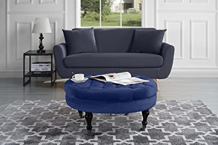 Divano Roma Furniture   Round Tufted Velvet Coffee Table With Casters,  Ottoman With Wheels (
