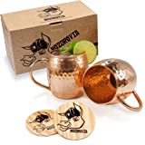 Moscow Mule Copper Mugs - Nozdrovia - 2 Pack - 100% Solid Copper, 16 oz Capacity, Hammered Finish, Classic