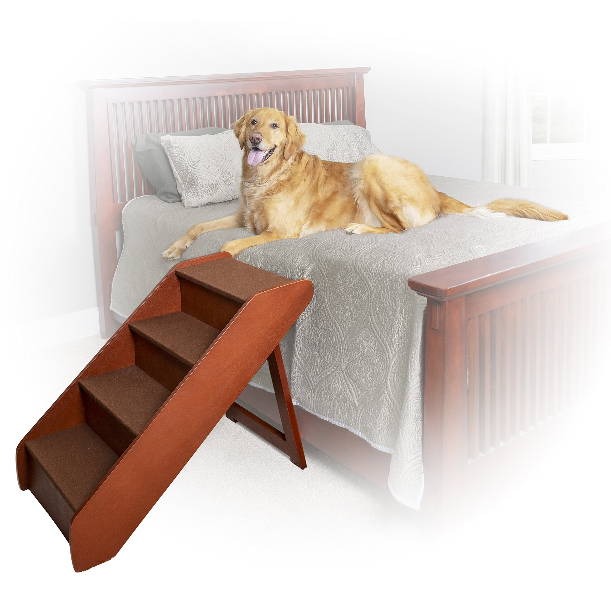 PetSafe Solvit PupSTEP Wood Pet Stairs, X-Large, Foldable Steps for Dogs and Cats, Best for Medium to Large Pets