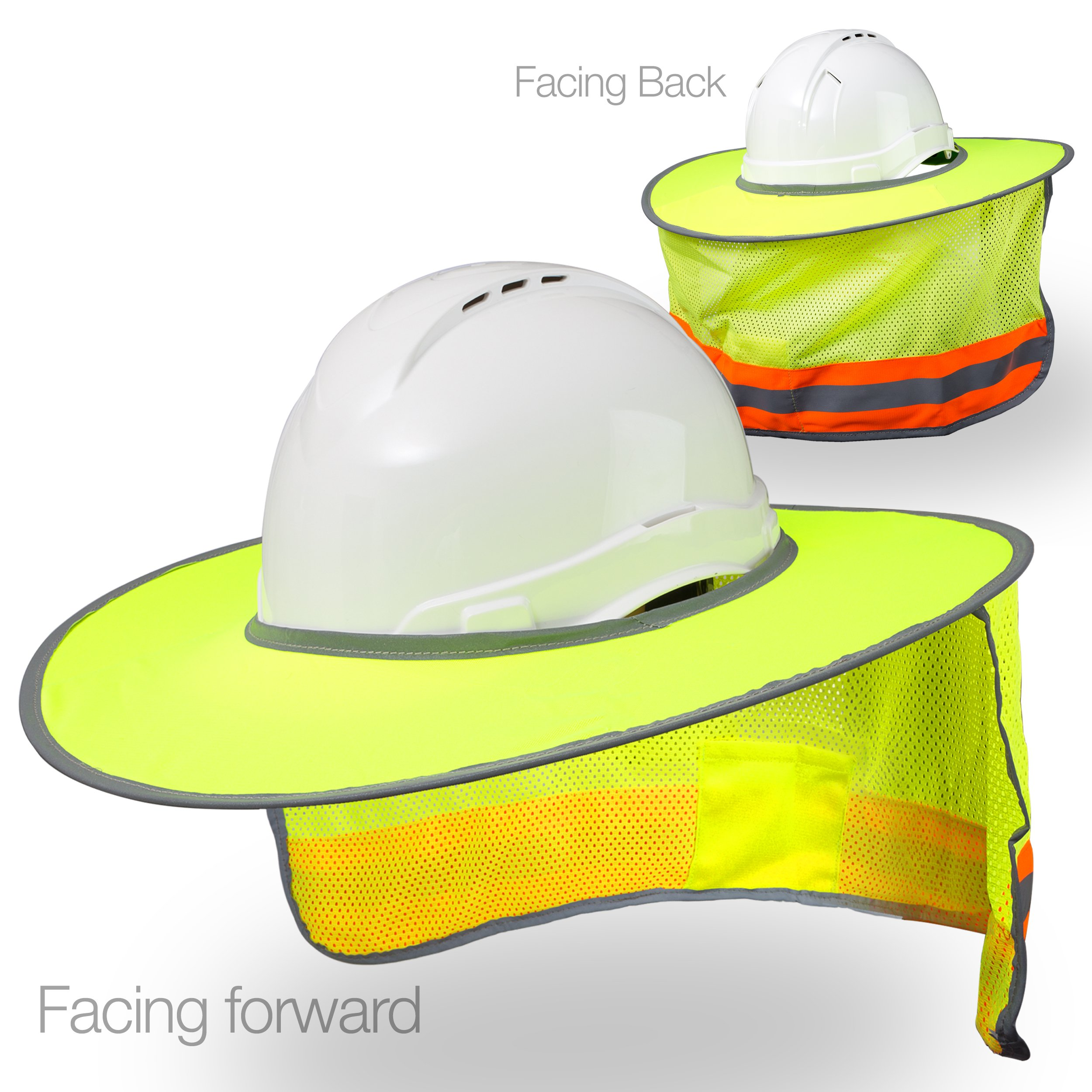 Hard Hat Sun Shield - High Visibility, Reflective, Full Brim Mesh Sun Shade Protector (Hard Hat Not Included) (Yellow/Lime) by Tapix