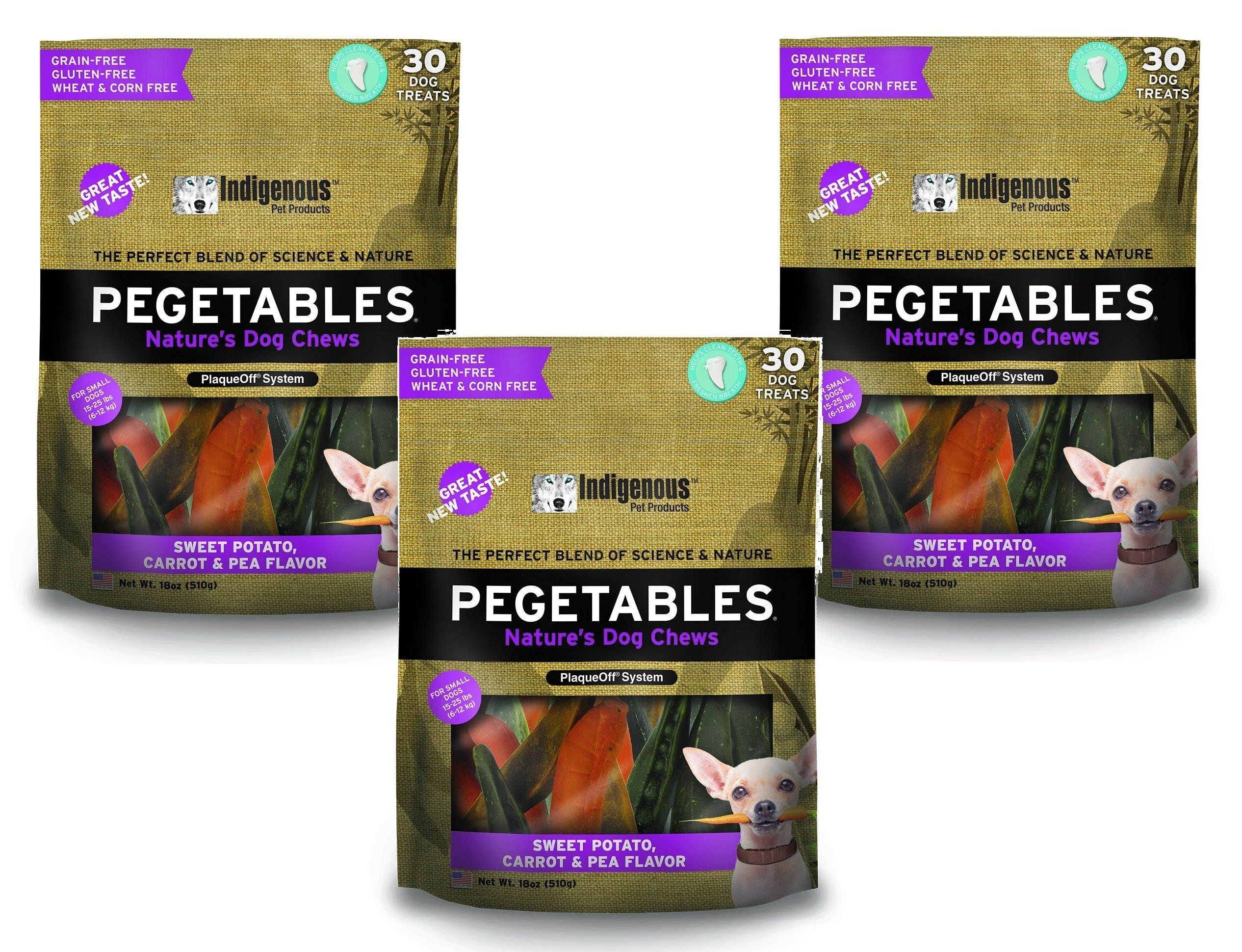 Pegetables Mixed 18-Ounce Value Size Dental Chew, Small (3 Pack) by Pegetables