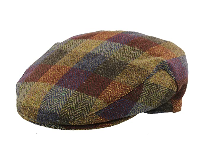 Failsworth Donegal Patchwork Harris Tweed Flat Cap in Red Blue (Small 55cm 18b3caef43e7