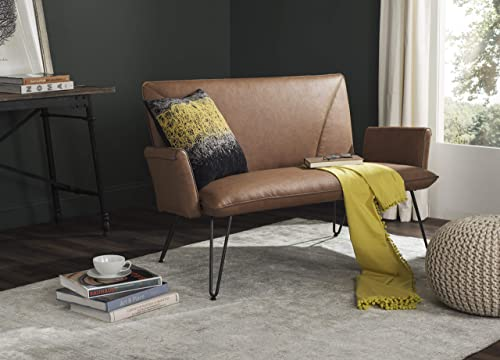 Safavieh Home Collection Johannes Mid-Century Modern Camel Settee