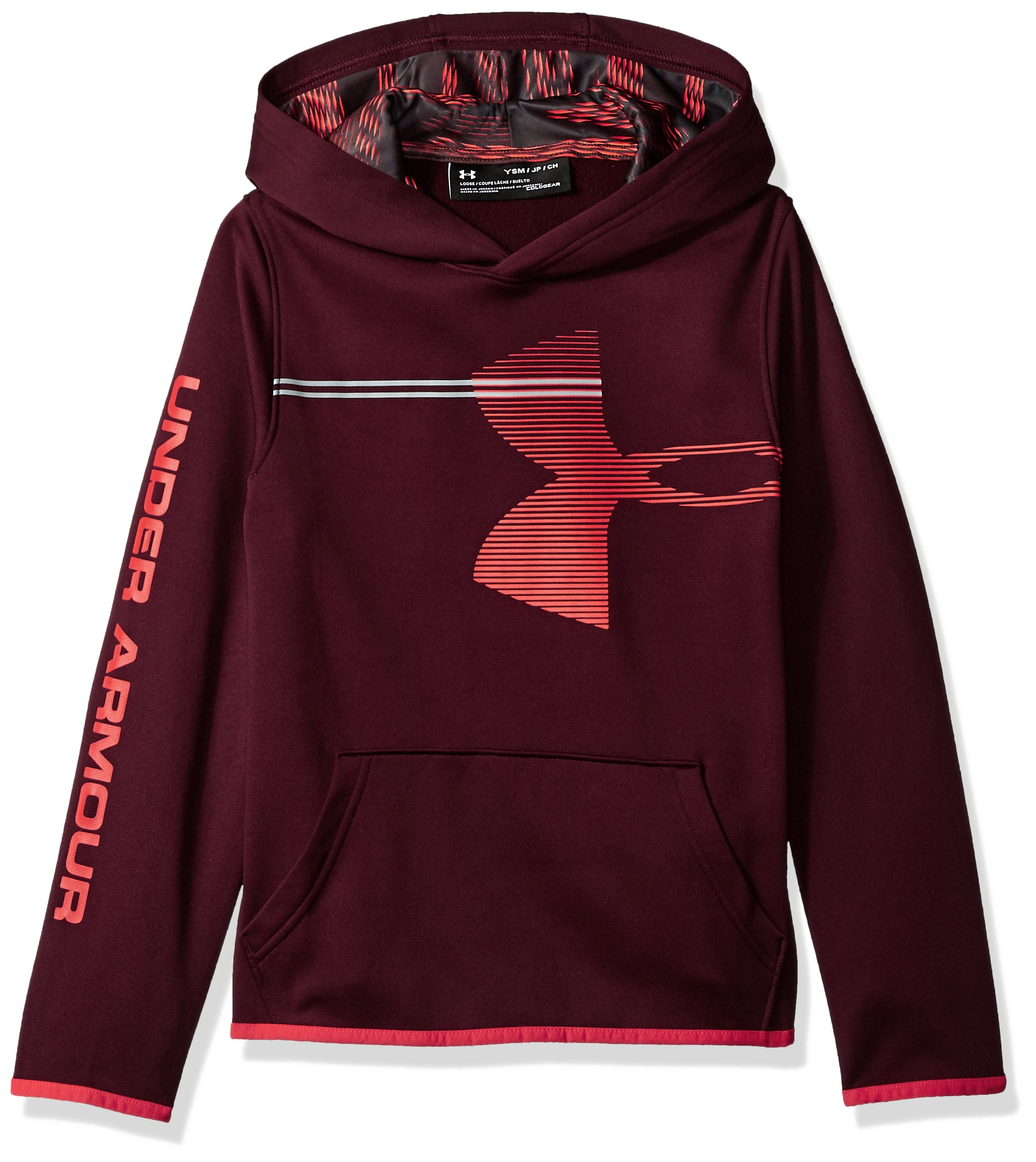 Under Armour Boys' Armour Fleece Hoodie, Dark Maroon (601)/Radio Red, Youth Small by Under Armour
